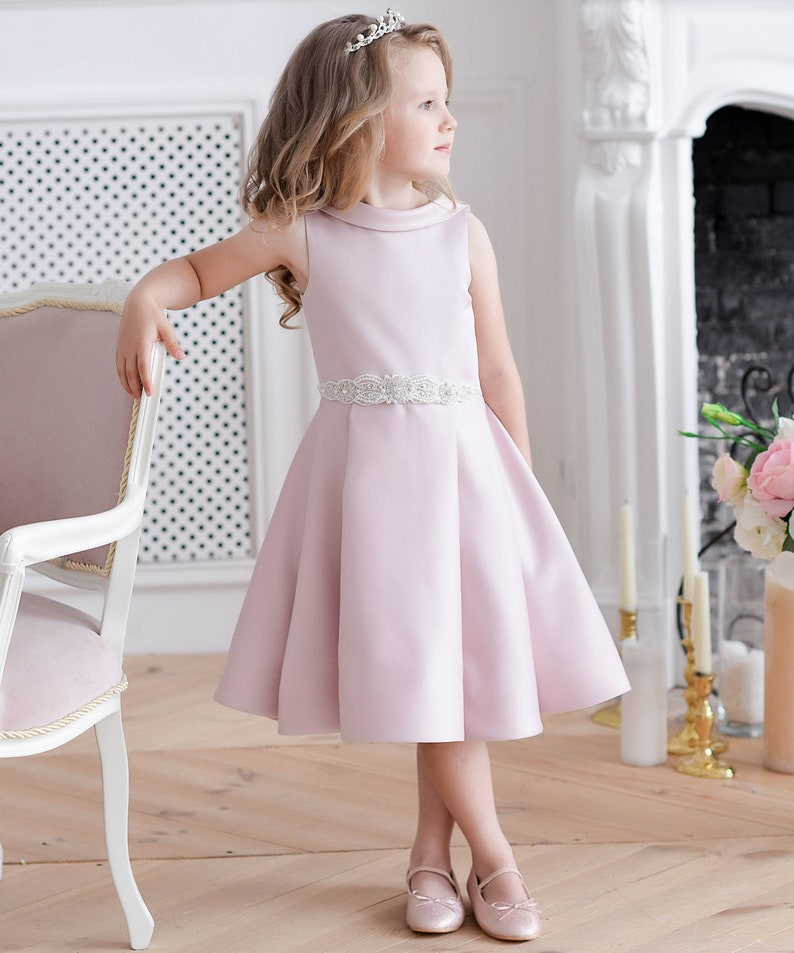 33489bdd8a8 Blush flower girl dress Pink junior bridesmaid dress lace