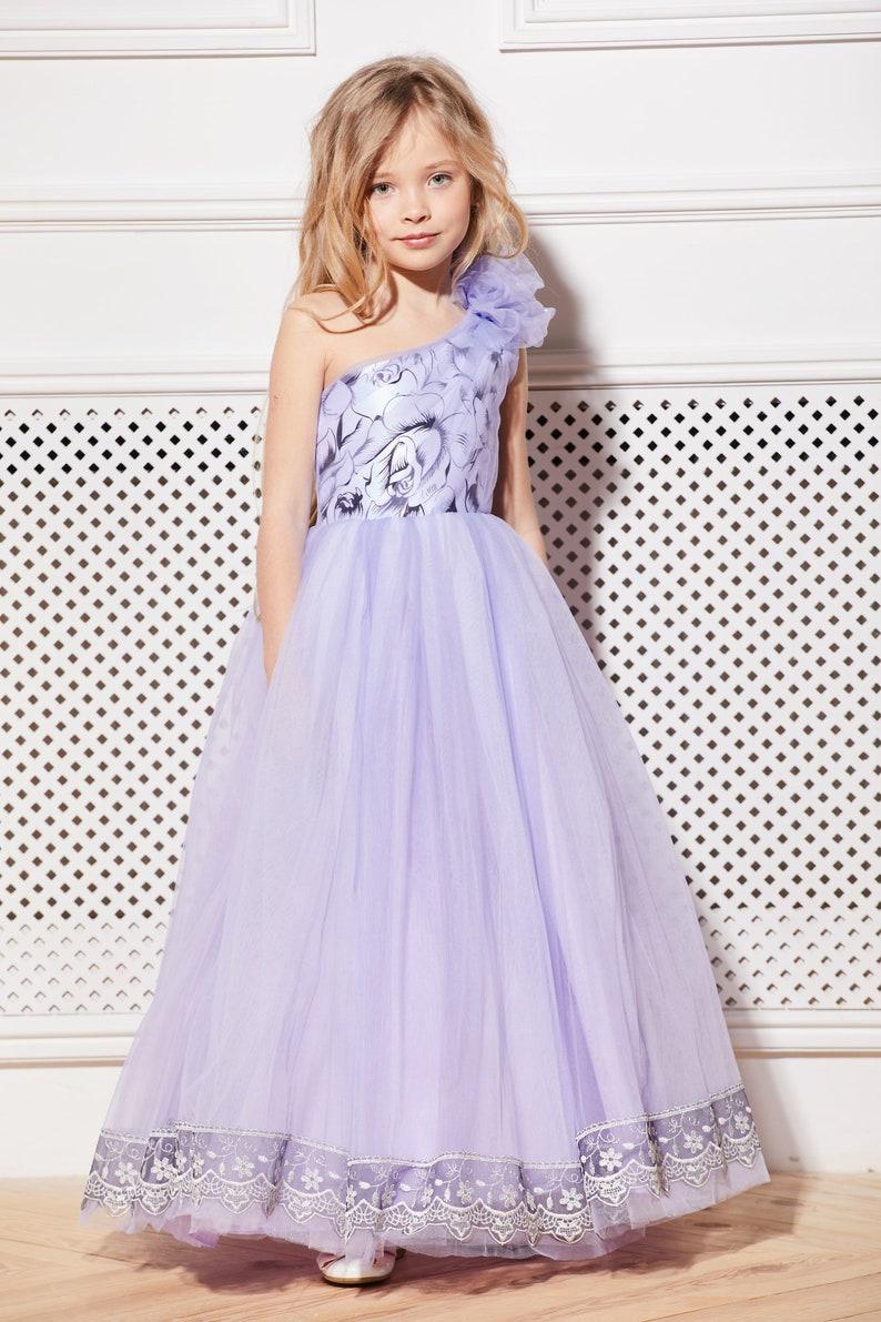 6deb6a84def Purple flower girl dress Violet tulle dress Tutu flower dress