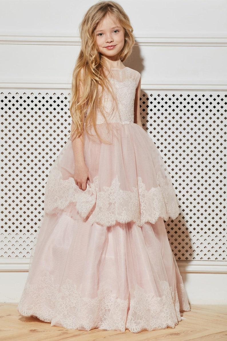 86a71d4797d5 Blush Flower Girl Dress Holiday Bridesmaid Wedding Party