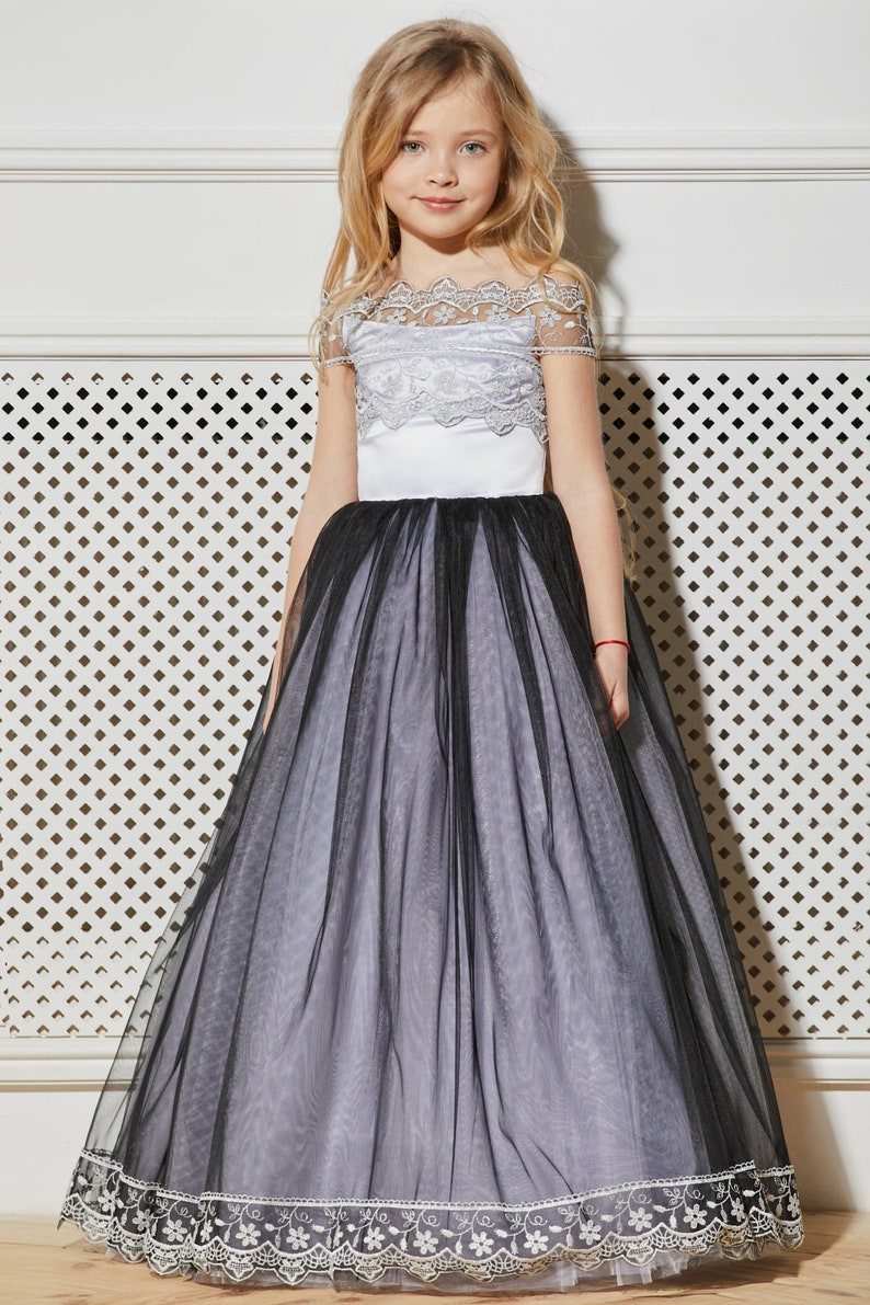 866f0cf1be437 White Flower Girl Dress Black Tulle Satin Lace Rustic Tutu