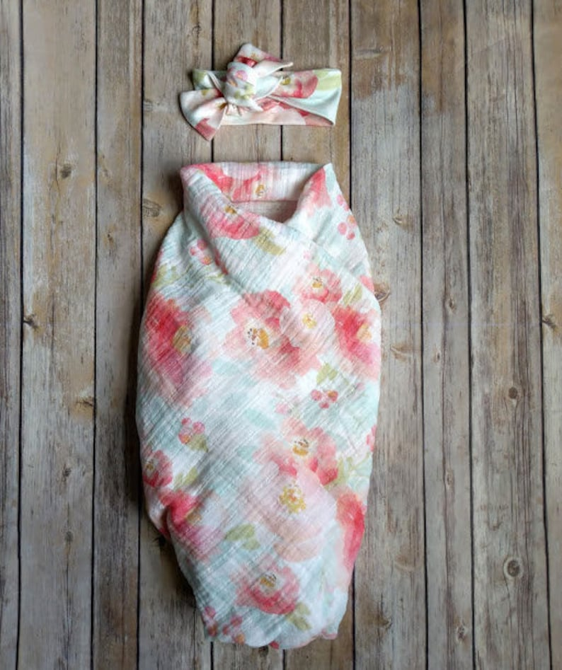 a1676a771ab9 Newborn Swaddle Set Watercolor Blooms Organic Muslin Swaddle