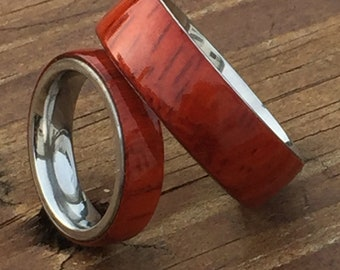Stabilized Padauk Wood Ring with a Stainless Steel Ring Core - Men's Wood Ring - Women's Wood Ring - Wedding Ring - Wedding Band
