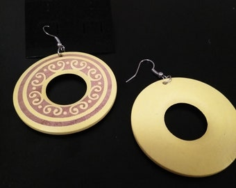 Yellow wooden hoop earrings