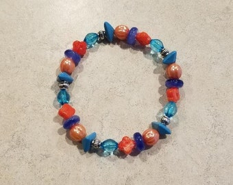 Beaded coral and blue acrylic stretch bracelet or anklet