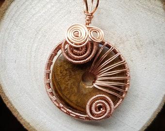 Jasper pendant wire wrapped in copper