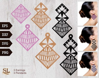Rhombus Earrings Pendant 6 Templates Vector Digital SVG DXF EPS Jewelry Cut Files Download Laser Plasma Cutting