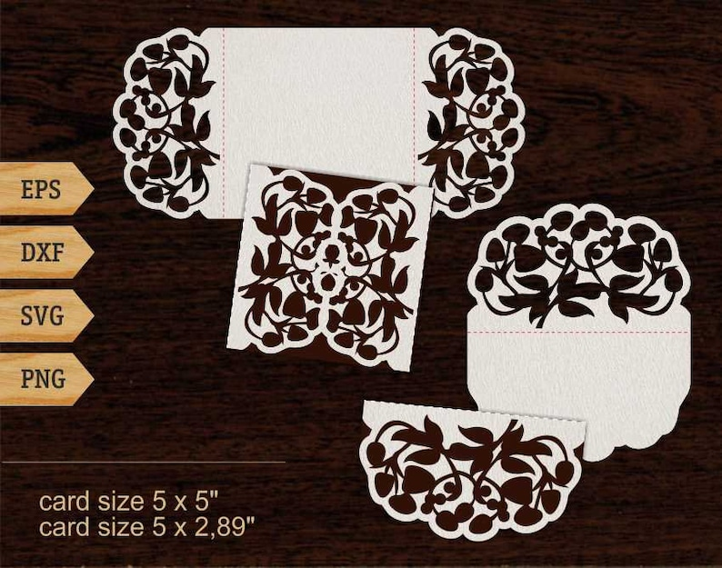 Berries Card Svg Birthday Lace Cricut 5x5 SVG DXF Laser Cut File Silhouette Instant Download Berry Invites