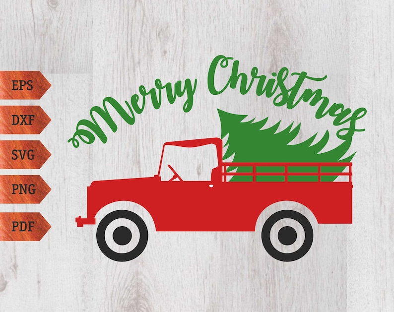 Christmas truck svg Merry Christmas svg Christmas Tree svg Christmas svg Tree svg Christmas vector Silhouette Cut Files Cricut Cut Files