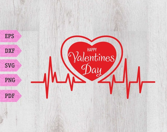 Happy Valentines Day Svg Heartbeat Line Svg Heart Svg Digital Etsy