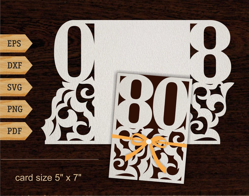 80th Birthday Svg Lace Card Cricut 80 Years 5x7 SVG DXF PDF Gift Laser Cut File Silhouette