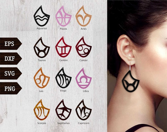 Zodiac Signs Earring Svg Templates Vector Digital Svg Eps Etsy