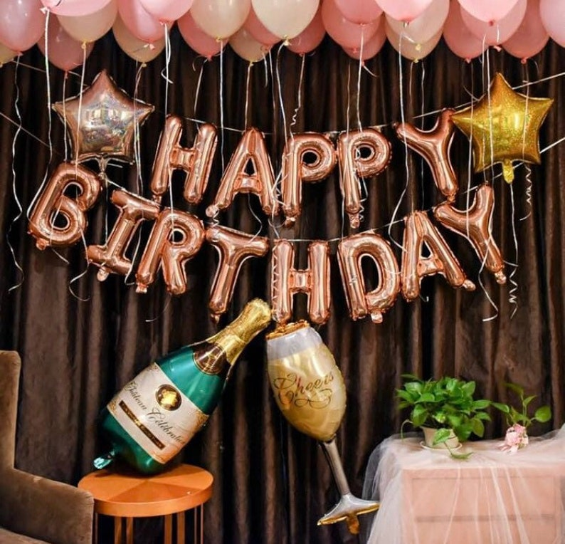 Birthday Balloons Rose Gold Decor Gifts For Her