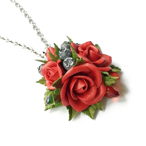 Red Unique Design Hand-Made Multi-Colored Bohemiam Polymer Clay Flowers Necklace Pendant Black Floral
