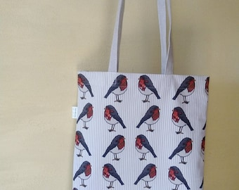 Fabric tote bag with birds
