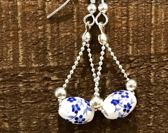 Hand-made boheme earrings with vintage styled beads