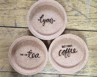 Set of 3 coasters - tea, coffee, logo