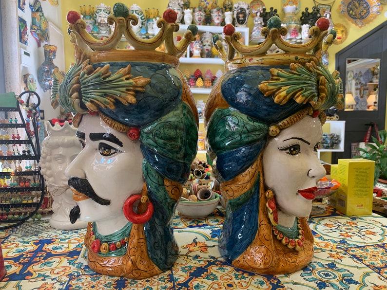 Sicilian Moor Heads pair in Caltagirone Ceramics entirely ...