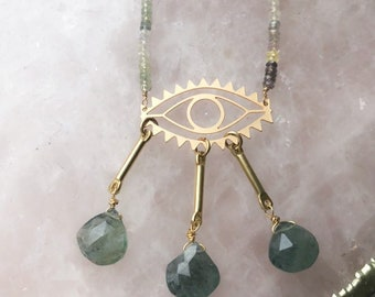 Laser Cut Evil Eye Ombre Sapphire Tears Statement Necklace