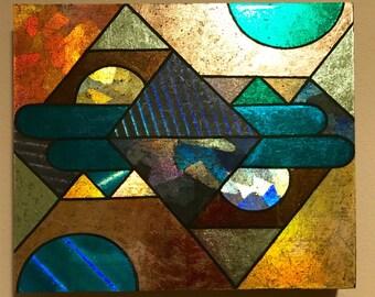 Original Artwork. Holographic Foil. Art Deco.