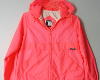 Pacific Trail Vintage Womens Large Windbreaker Jacket Hood Zip Neon Pink  Lined 939e90d9f