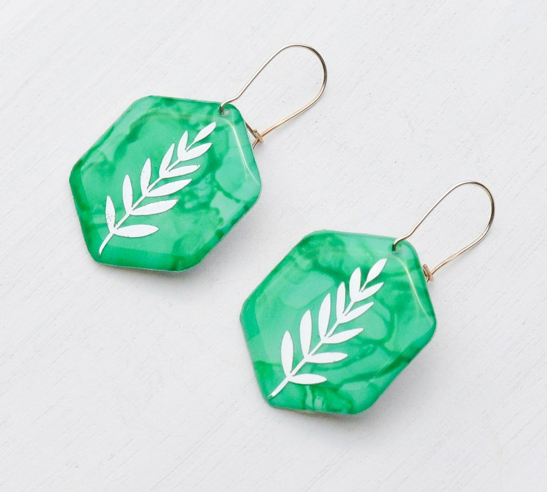 Gift For Plant Lover Botanical Leaf Earrings Sterling Silver Dangle Earrings