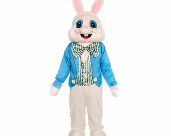 Easter Bunny Rabbit White Blue Vest Cartoon Adult Mascot Costume For  Birthday Parties, Events, Etc.