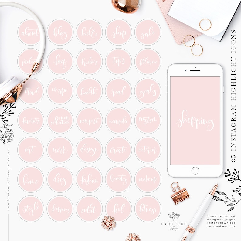 Pink Instagram Story Icons Highlight Covers Insta Template Pastel Girly  Feminine Fashion Blogger Hand Lettered Design Fashion Shopping Work