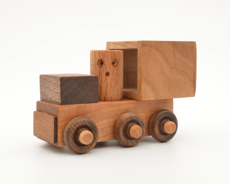 Wooden Toy Box Van Truck And Driver Natural Wood Handcrafted