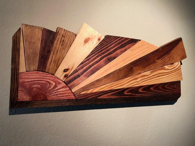 Sunburst Wood Wall Art, Reclaimed Pallet Wood, Sunrise, Modern Wood art,  Wooden Wall Art
