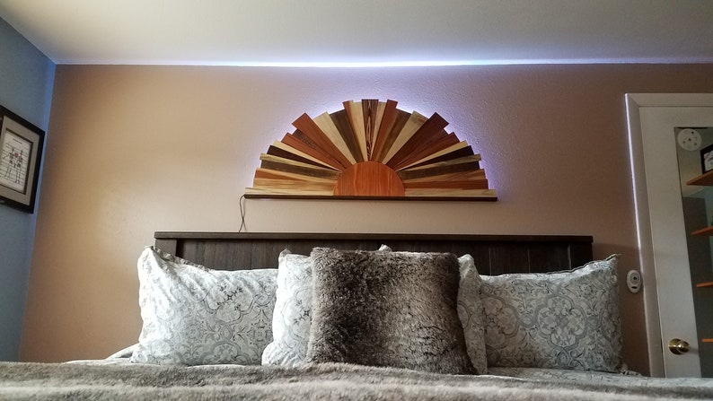 Backlit Sunburst Large, Wood Wall Art,Reclaimed Pallet Wood, Sunrise,  Modern Wood art, Wooden Wall Art