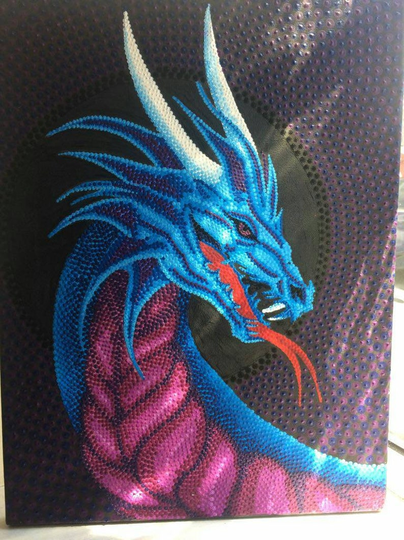 Fantasy Dragon Wall Art Dot Painting Etsy