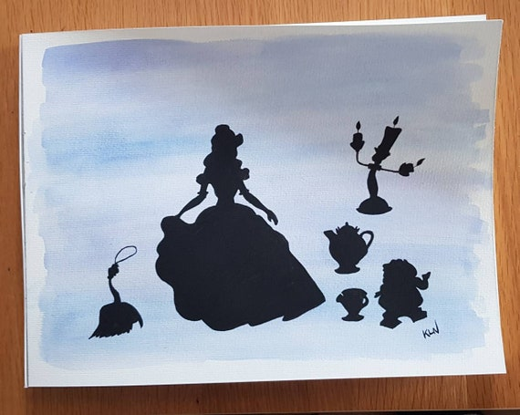 Beauty And The Beast Silhouette Original Watercolour Painting Etsy