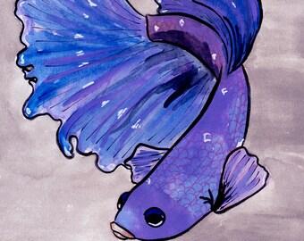 Blue Beta ORIGINAL Gouache Watercolor Painting