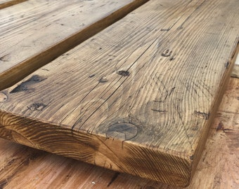 Reclaimed sanded & waxed scaffold board. 7 finishes AVL. rustic shelf industrial. chunky. Fiddes wax. UPTO 2M LENGTH
