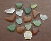 15 Love hearts Small Heart shaped pendants Genuine surf tumbled sea glass for Jewelry making Sea glass art, Love card making Crafts