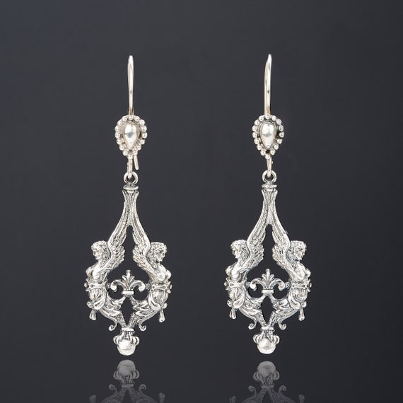 Angel sterling silver earrings angel jewelry vinta