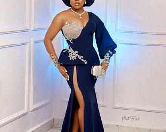 Blue engagement dressAfrican wedding reception dressAfrican clothing for womenevening dress prom dress  Christmas gown