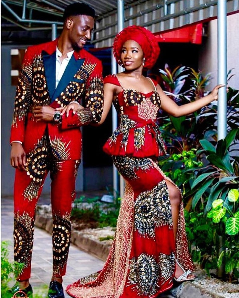 Couple Africain Robe Robe De Mariage Africain Vêtements Africains Mode Africaine Vestes Africaines Robe Africaine