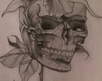 Skull and Roses Sketch