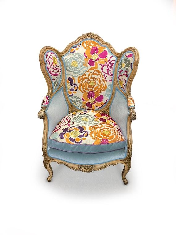 Embroidered Velvet Wingback Chair, Velvet Wing Chair Cover