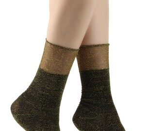 Women's Chic Silver/Gold Glitter Socks
