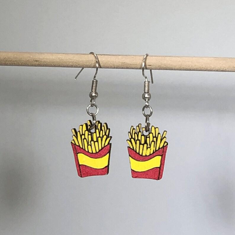 French Fry Wooden Dangle Earrings