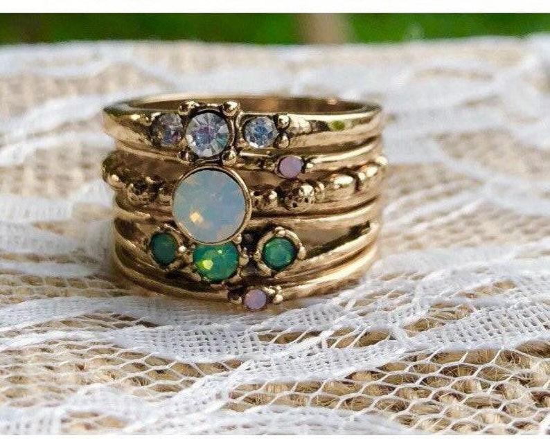 Stacking Rings Set, Stackable Rings, Boho Rings, Gold Stacking  Rings,peridot ring,unique ring gift