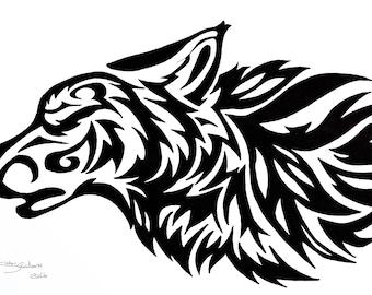 Tribal Rose Tattoo Ink Design Tribal Art Print Tribal Rose Etsy