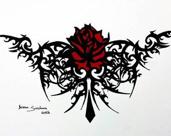 Tribal Wolf Tattoo Ink Design Tribal Art Print Tribal Wolf Etsy