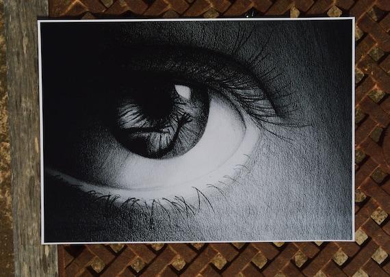 Eye Illustration / Eye Poster / Eye Drawing / Black and White Art Print /  Artsy Home Decor / Gothic Wall Art / Art Print / Art Poster