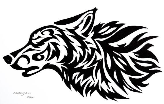 Tribal Wolf Tattoo Design Original Art Print