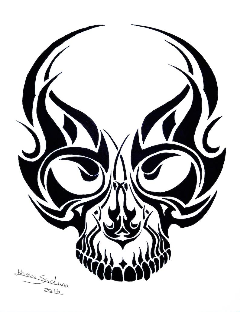 8733a17b1 Tribal Skull Tattoo Ink design no.2 Skull poster / | Etsy