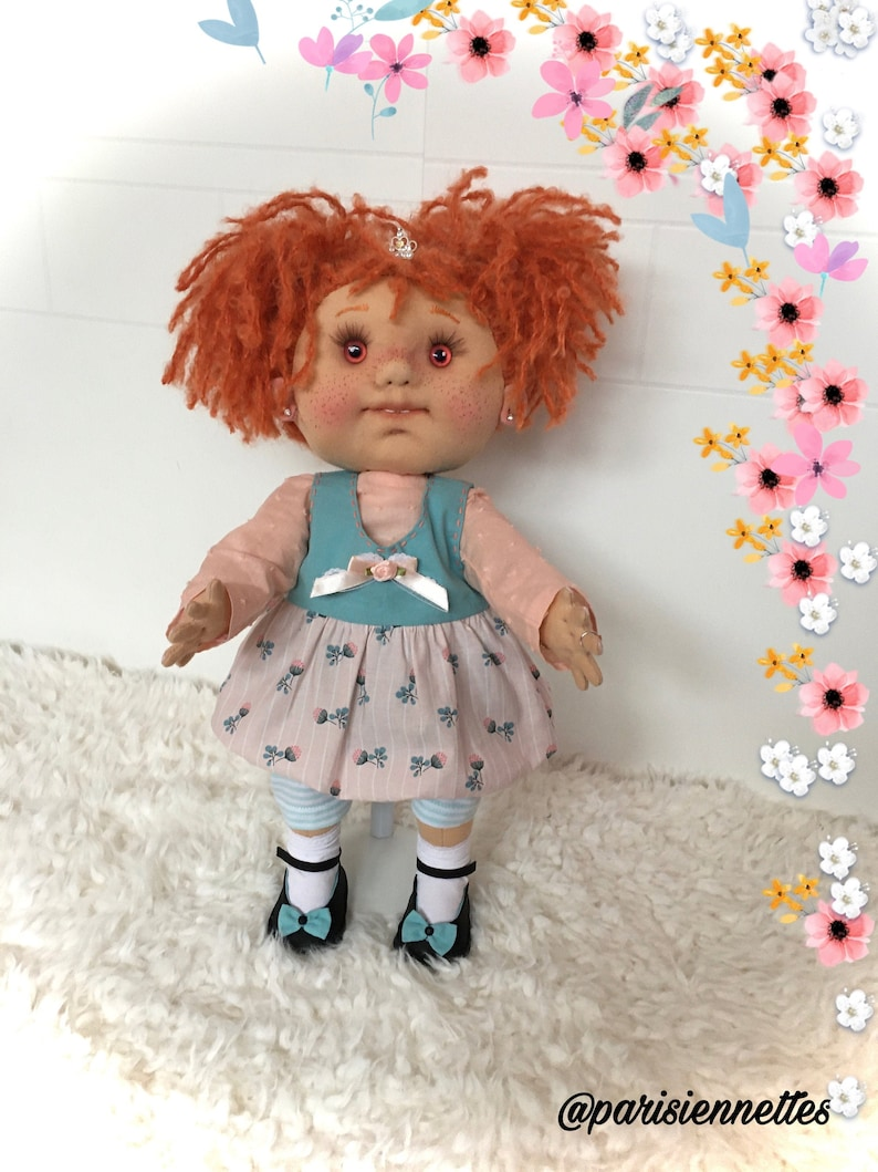 Prune doll gift handmade rag doll collectible doll,French made fabric doll unique doll French couture