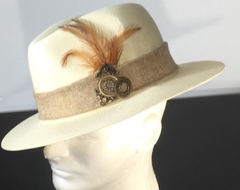 0536ba36bb5 Sporty Mens Fedora Blue hat with feathers accents for that
